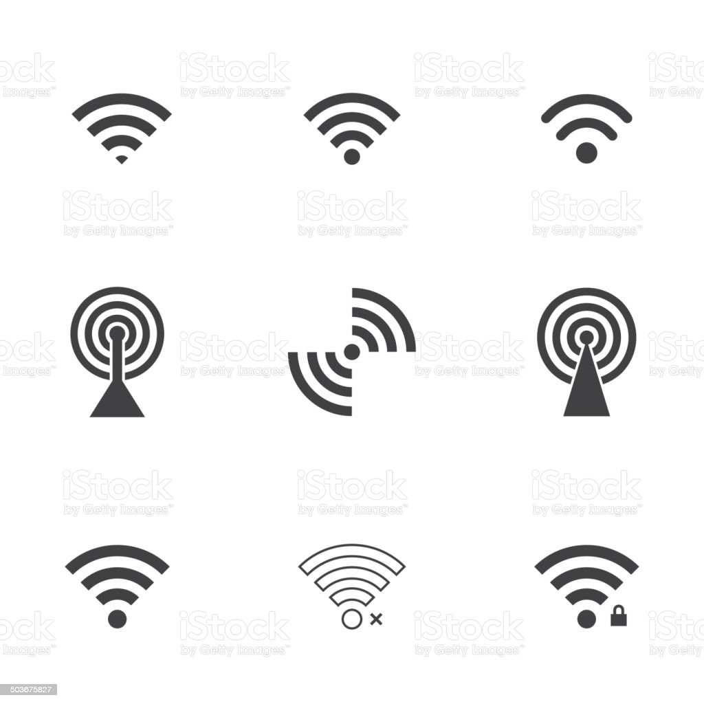 wifi icons vector art illustration