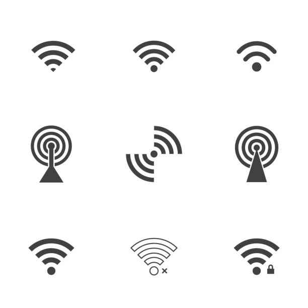 wifi icons - wireless technology stock illustrations, clip art, cartoons, & icons