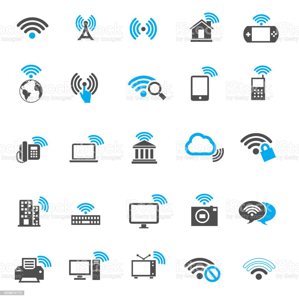 Wi-fi icons vector art illustration