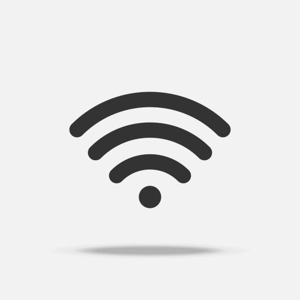 Wifi internet flat icon with shadow vector art illustration