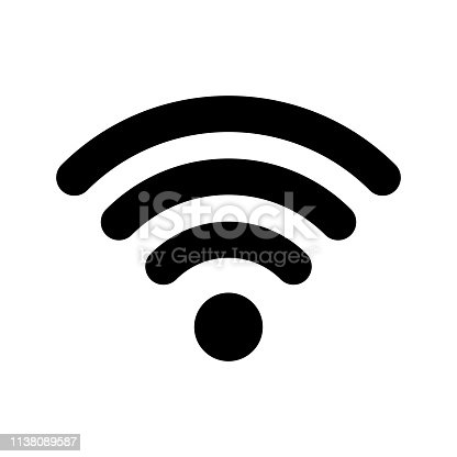 istock Wi-Fi internet icon. Vector wi fi wlan access, wireless wifi hotspot signal sign 1138089587