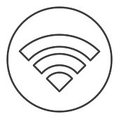 Wifi internet thin line icon. Wireless network signal coverage symbol, outline style pictogram on white background. Network or electronics sign for mobile concept and web design. Vector graphics