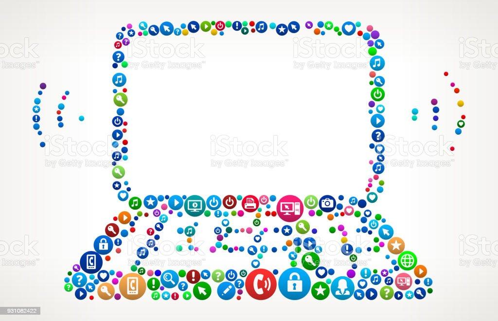 Wi-Fi Laptop Internet Communication Technology Icon Pattern vector art illustration