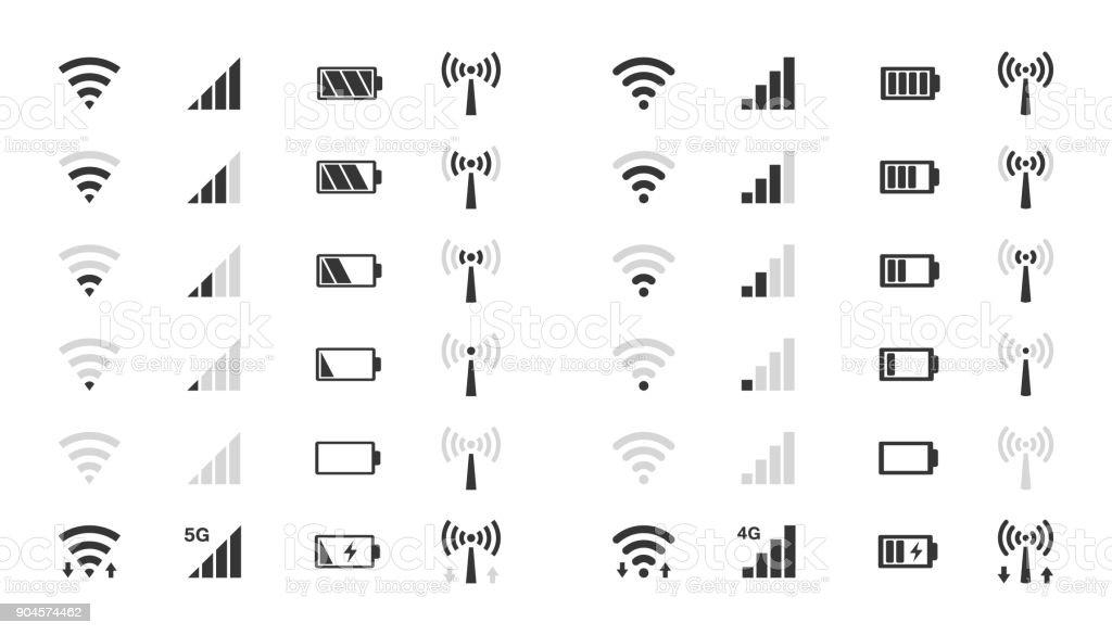 icônes niveau WiFi, indicateur de puissance du signal, charge de batterie icônes niveau wifi indicateur de puissance du signal charge de batterie vecteurs libres de droits et plus d'images vectorielles de affichage digital libre de droits