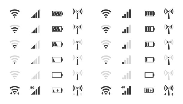 wifi level icons, signal strength indicator, battery charge mobile phone system icons, wifi signal strength, battery charge level rechargeable battery stock illustrations