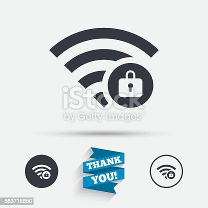 Wlan Verriegeltsymbol Pass Wifi Symbol Wlan Stock Vektor Art und ...
