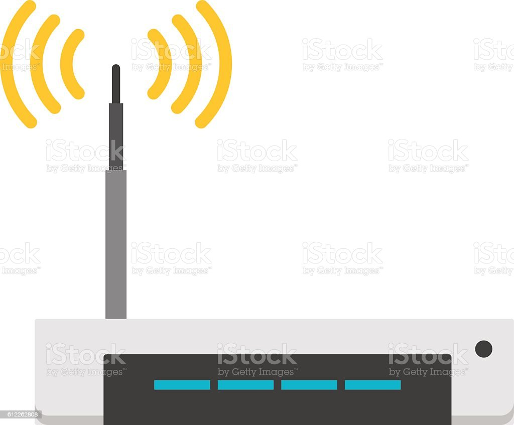 Wi-fi modem router isolated on white vector art illustration