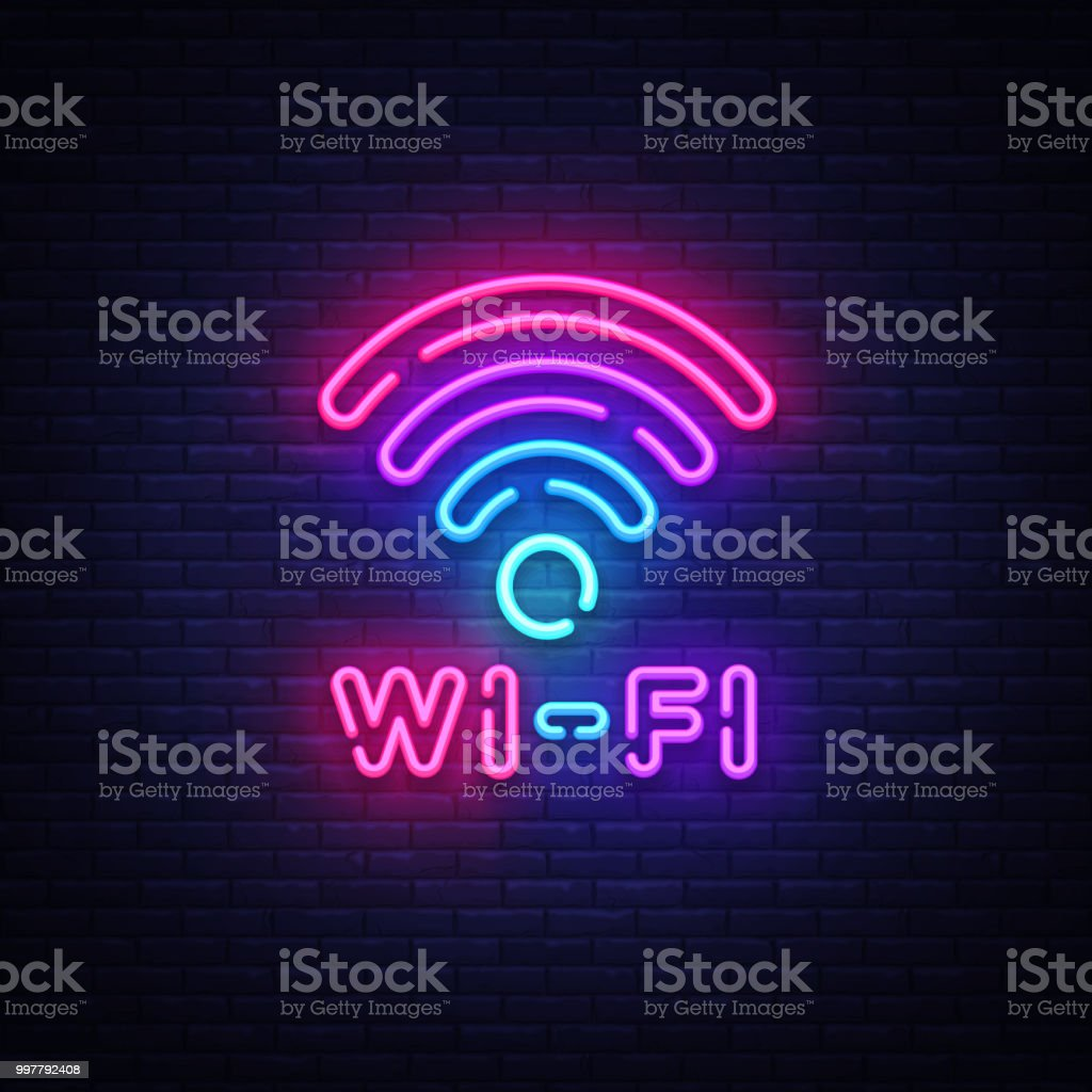Wifi neon sign vector. Wifi symbol neon glowing letters shining, Light Banner, neon text. Vector illustration. Billboard vector art illustration