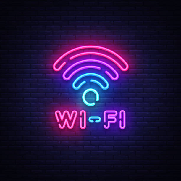 wifi neon sign vector. wifi symbol neon glowing letters shining, light banner, neon text. vector illustration. billboard - wireless technology stock illustrations, clip art, cartoons, & icons