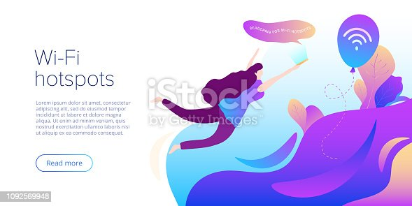 Wi-fi network concept in abstract vector illustration. Girl searching for hotspots with smartphone. Creative website layout or landing page template. Web banner concept.