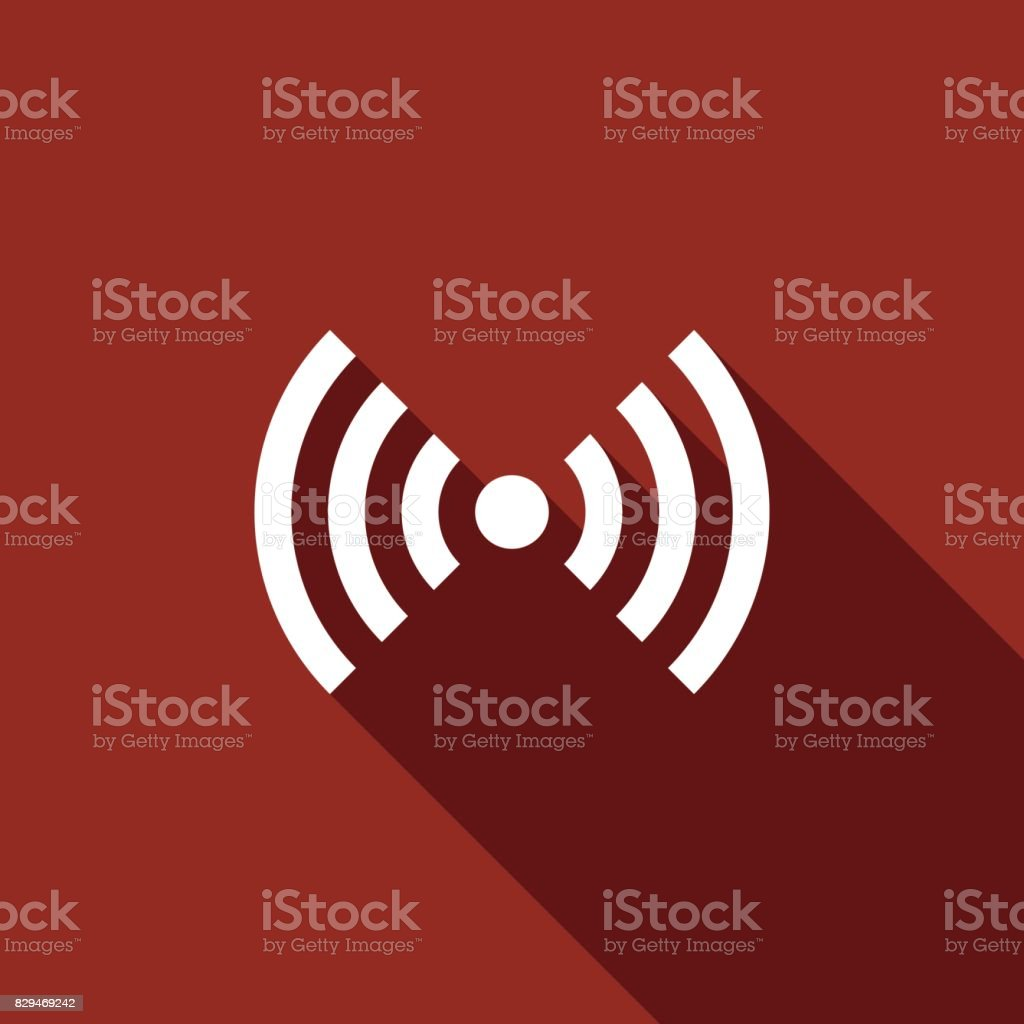 Wi-Fi network symbol flat icon with long shadow. Vector Illustration vector art illustration