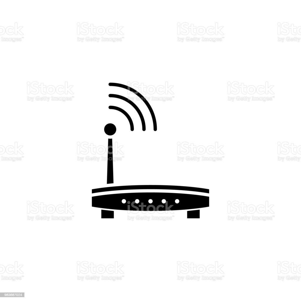 Wlan Router Schwarz Symbol Konzept Wlanrouter Flache Vektor Symbol ...