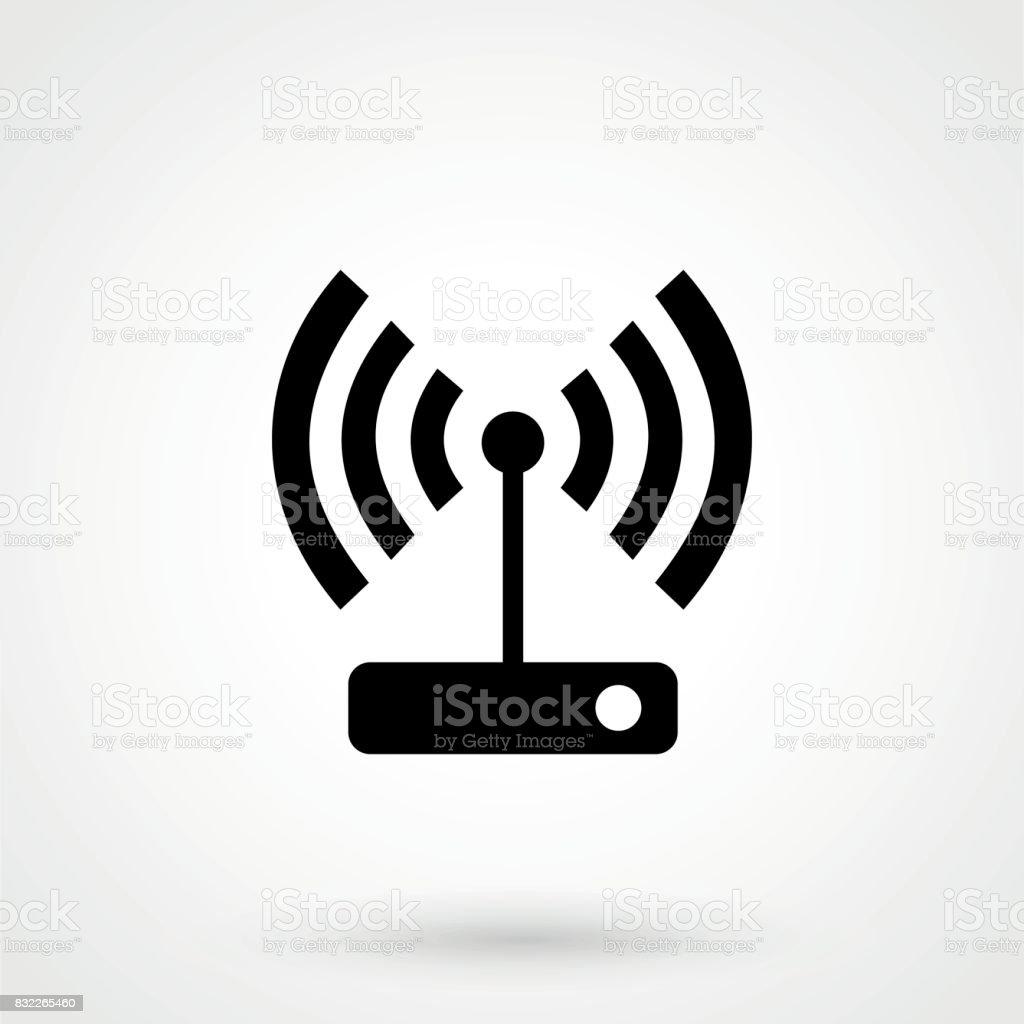 Wifi router - black vector icon vector art illustration