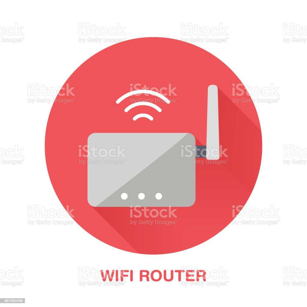 Wifi router flat style icon. Wireless technology, office equipment sign. Vector illustration of communication devices for electronics store vector art illustration