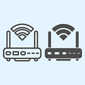 Wi-Fi router line and solid icon. Wireless network switch with antenna and signal coverage sign. Horeca vector design concept, outline style pictogram on white background, use for web and app. Eps 10
