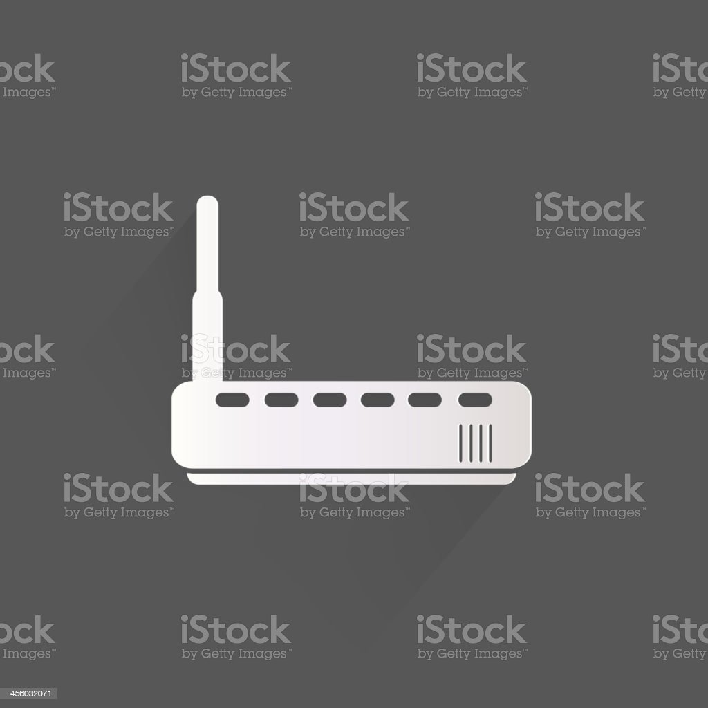 Wi-Fi router web icon in white and black vector art illustration