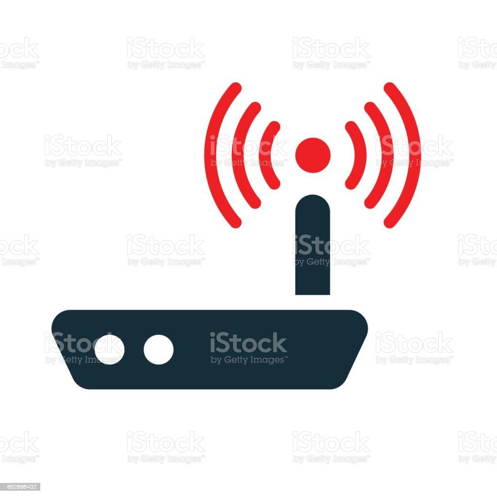 Wlanrouter Mit Antenne Symbol Auf Weißem Hintergrund Stock Vektor ...