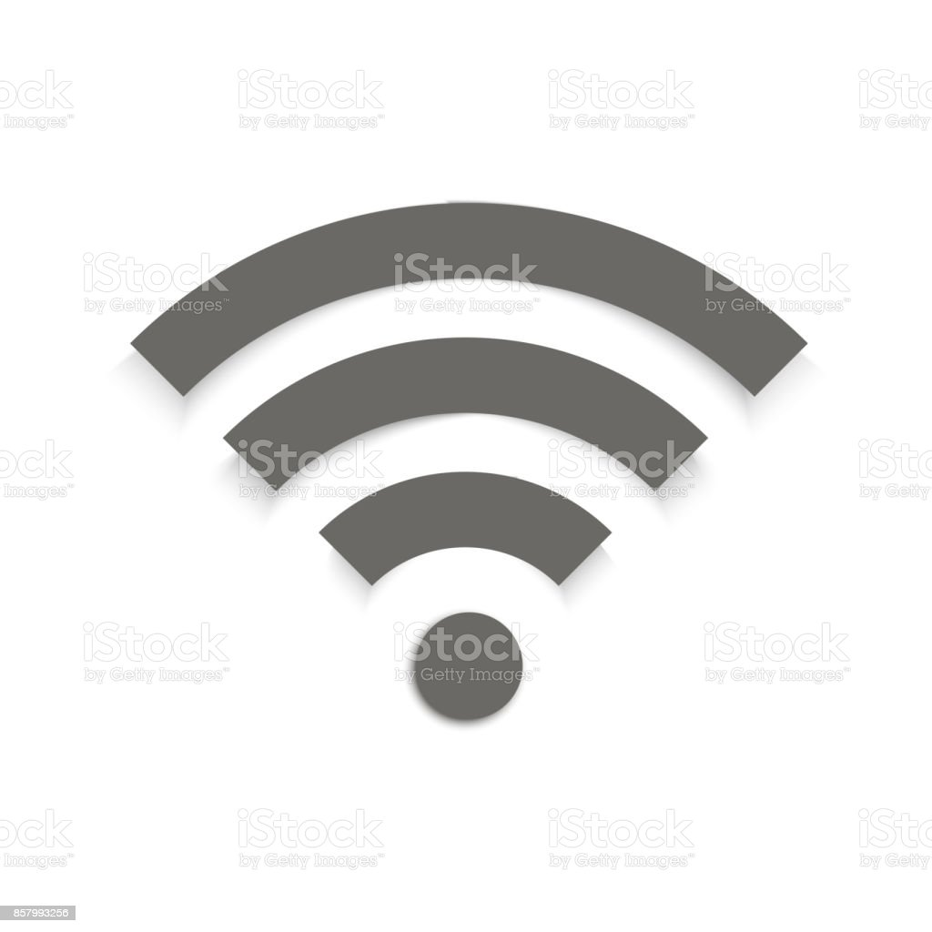 Wifi sign symbol vector with shadow. royalty-free wifi sign symbol vector with shadow stock illustration - download image now