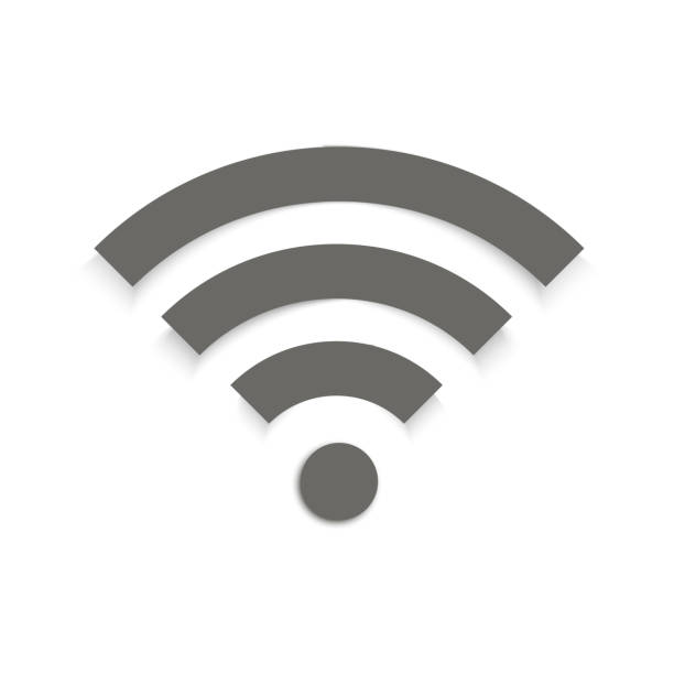 wifi sign symbol vector with shadow. - wireless technology stock illustrations, clip art, cartoons, & icons