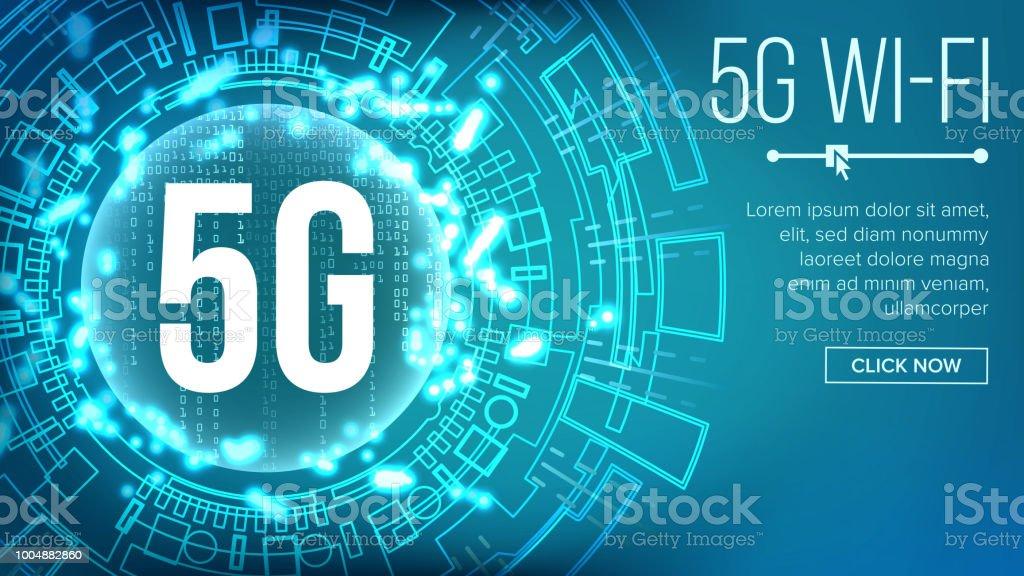 5G Wi-Fi Standard Background Vector. Telecommunication. Wireless Network. Internet Wi-Fi Connection. Future Technology Illustration vector art illustration