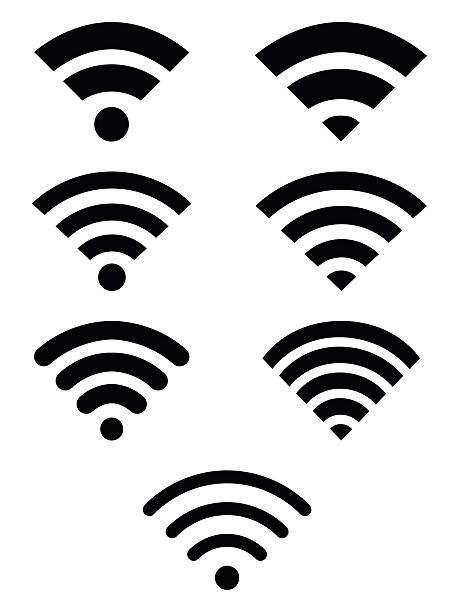 wifi symbol icon set - wireless technology stock illustrations, clip art, cartoons, & icons