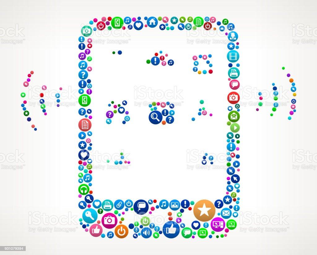 Wi-Fi Tablet Internet Communication Technology Icon Pattern vector art illustration