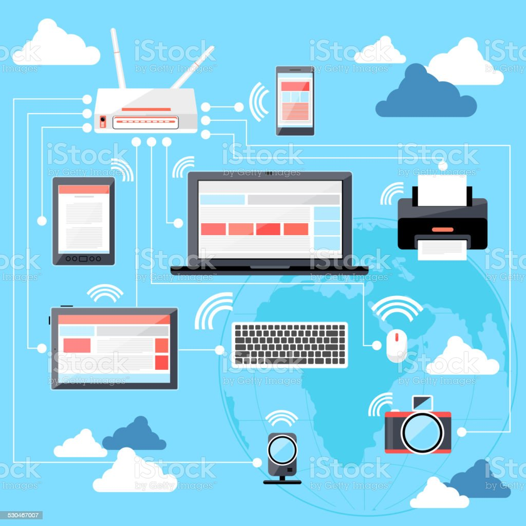 Wifi workstation with globe and router concept vector art illustration