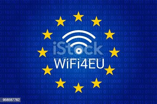 wifi4eu - free Wi-Fi hotspots in the European Union. EU flag. vector illustration