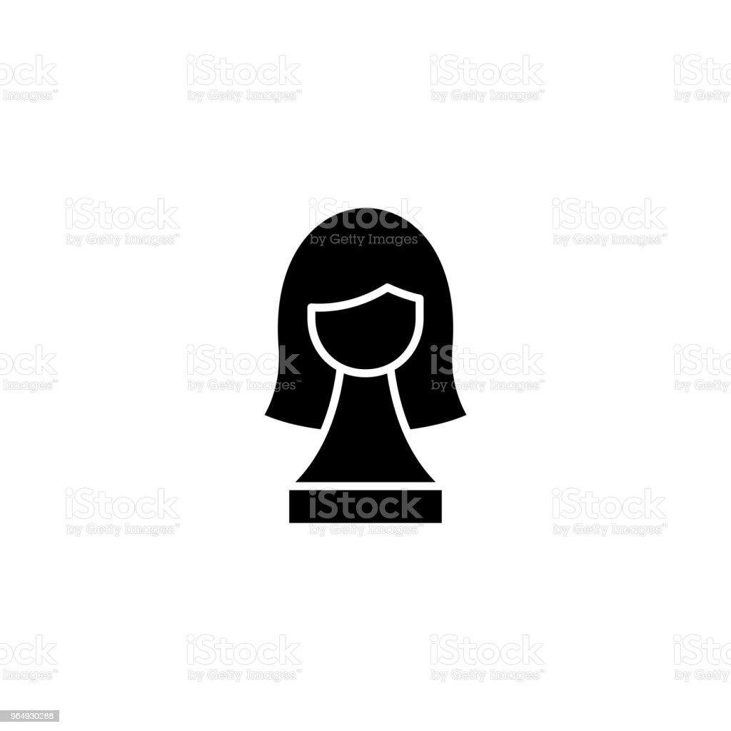 Wig black icon concept. Wig flat vector website sign, symbol,...