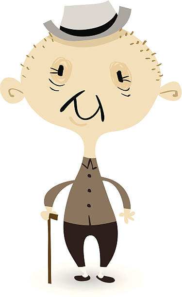 wigglyfolk - grandpa - old man funny cartoon stock illustrations, clip art, cartoons, & icons