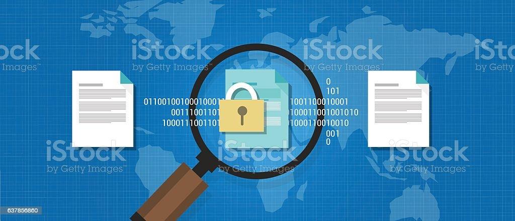 wikileaks document leaked secret confidential digital protection vector art illustration