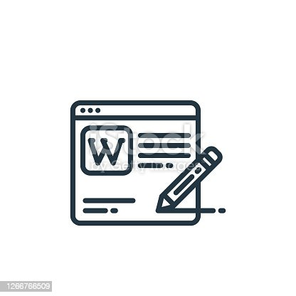 istock wikipedia vector icon isolated on white background. Outline, thin line wikipedia icon for website design and mobile, app development. Thin line wikipedia outline icon vector illustration. 1266766509