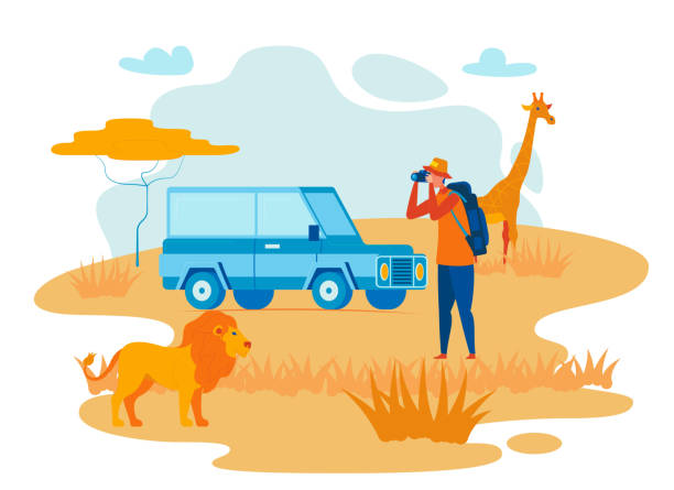wilde afrika exploration flache vektor illustration - forschungsurlaub stock-grafiken, -clipart, -cartoons und -symbole