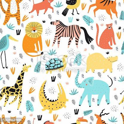 Wild African animals flat vector seamless pattern