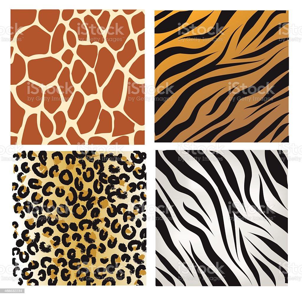 wild african animals pattern set vector illustration stock