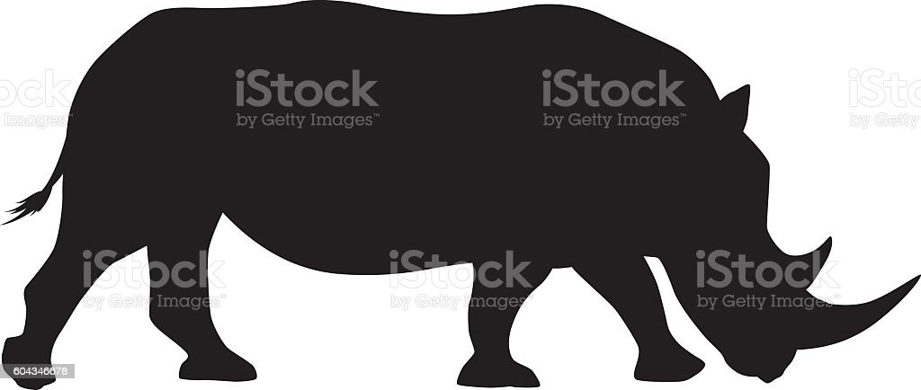 Wild African White Rhinocerous Silhouette vector art illustration