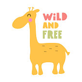 Wild and free giraffe. Hand drawn vector icon illustration design in scandinavian, nordic style.