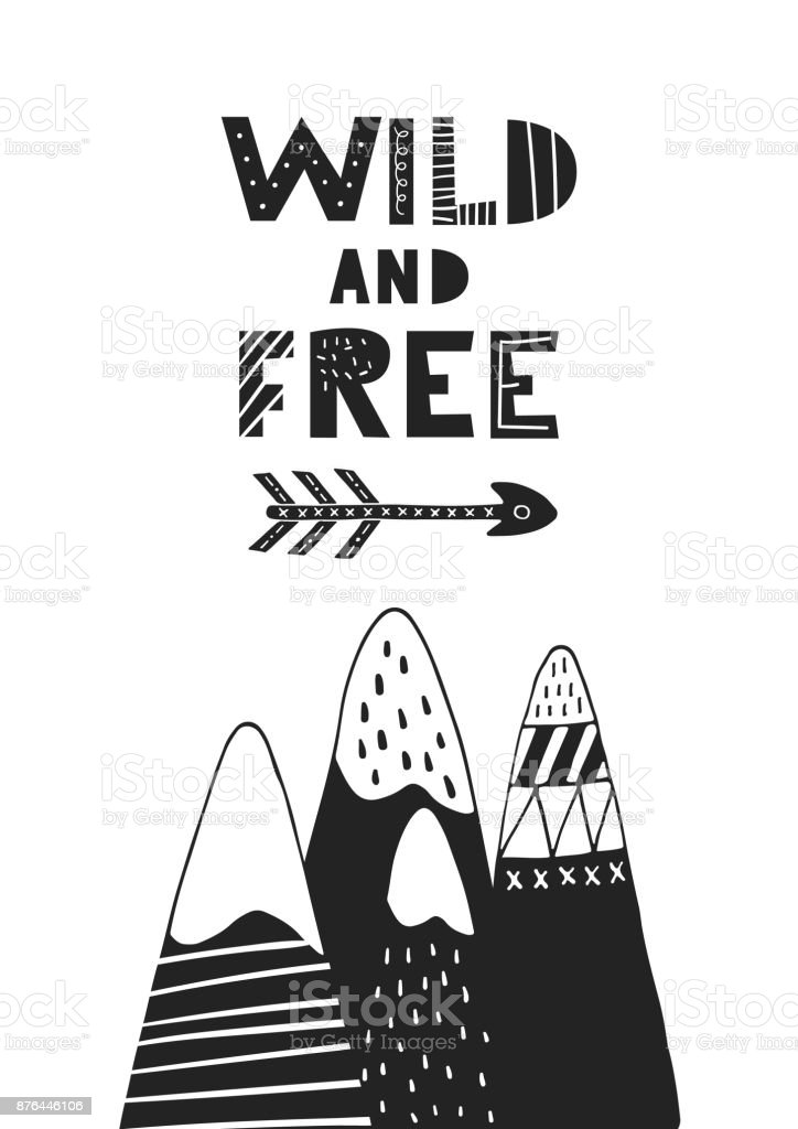 野生手の矢印と山と描かれたレタリング北欧風のモノクロ保育園ポスター