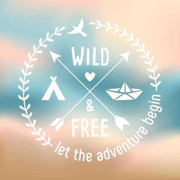 wild and free - label design for the romantic travellers - wildlife travel stock illustrations, clip art, cartoons, & icons