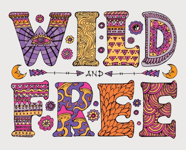 wild and free lettering - hippie fashion stock illustrations, clip art, cartoons, & icons
