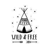 Wild and free scandinavian style hand drawn poster. Vector illustration.
