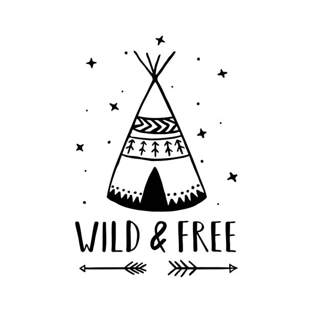 Wild and free scandinavian style hand drawn poster. Vector illustration. Wild and free scandinavian style hand drawn poster. Nursery wall decor of wigwam and typography. Boho style drawing print. Kids room decoration. Vector illustration. teepee stock illustrations