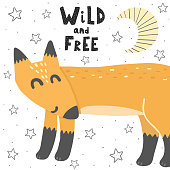 Wild and Free vector illustration with a fox