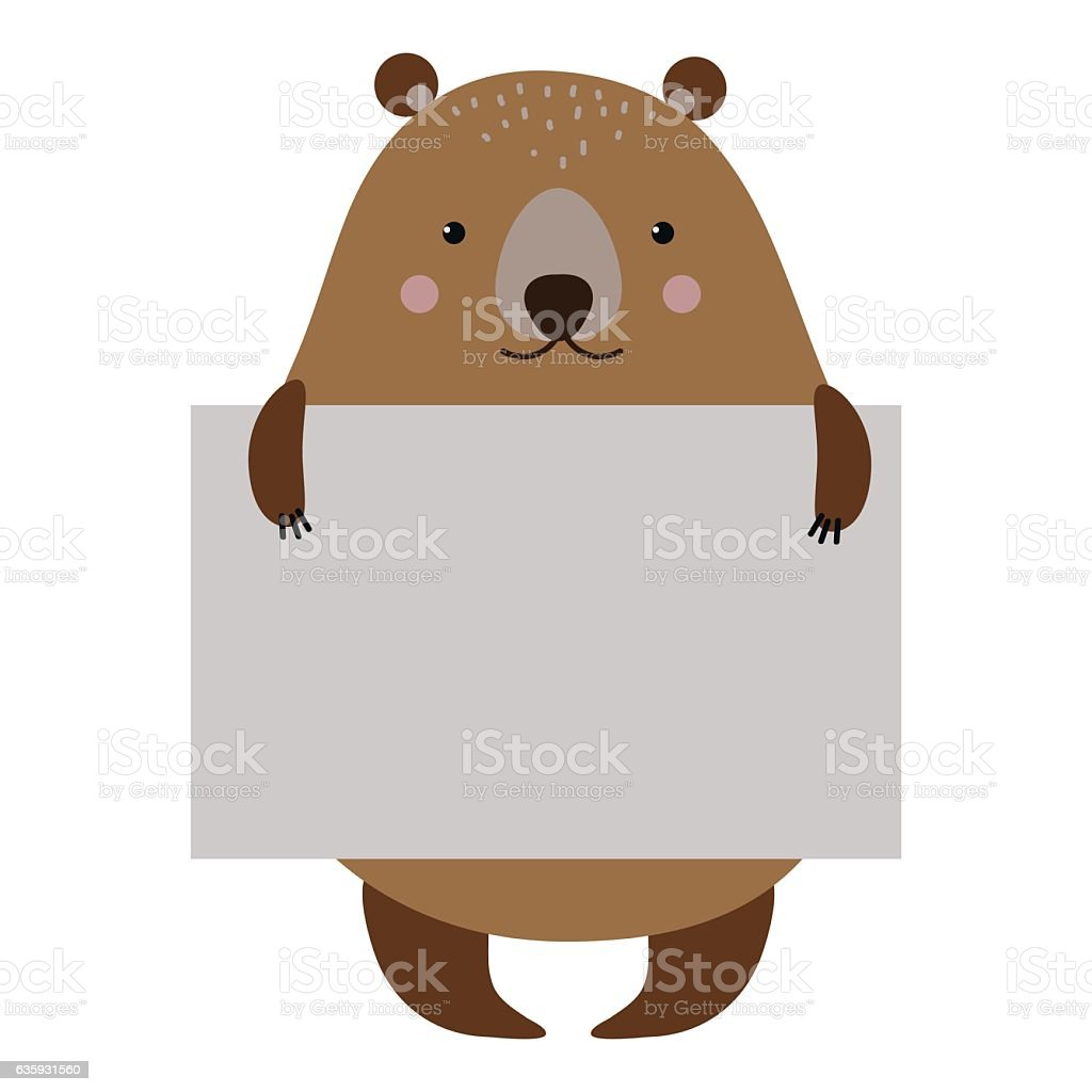 Wild animal bear strike with clean plate board vector. vector art illustration