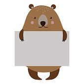 Wild animal bear strike with clean plate board vector.