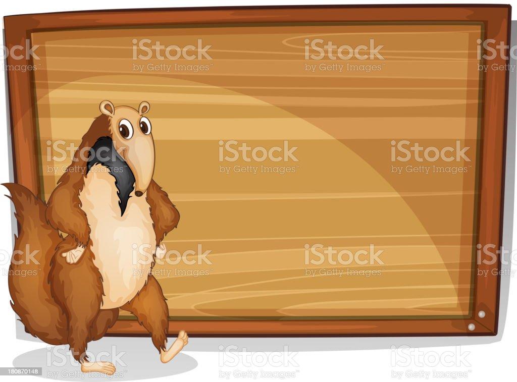 Wild animal beside an empty board