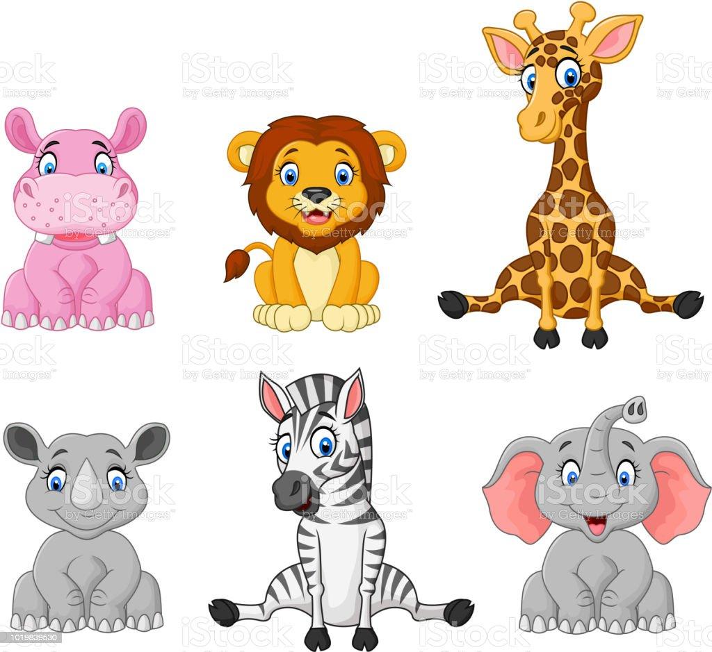 Ilustración de Colección De Dibujos Animados De Animales Salvajes ...