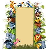 Wild animal characters with bamboo banner