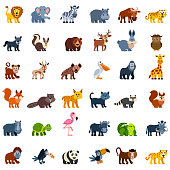 Set of wild animal characters