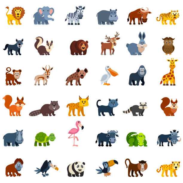 Wild Animal Characters Set of wild animal characters cute wolf stock illustrations